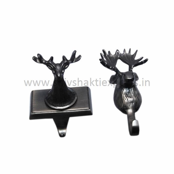Stocking Holder Deer Shape Black Nickel - Aluminum