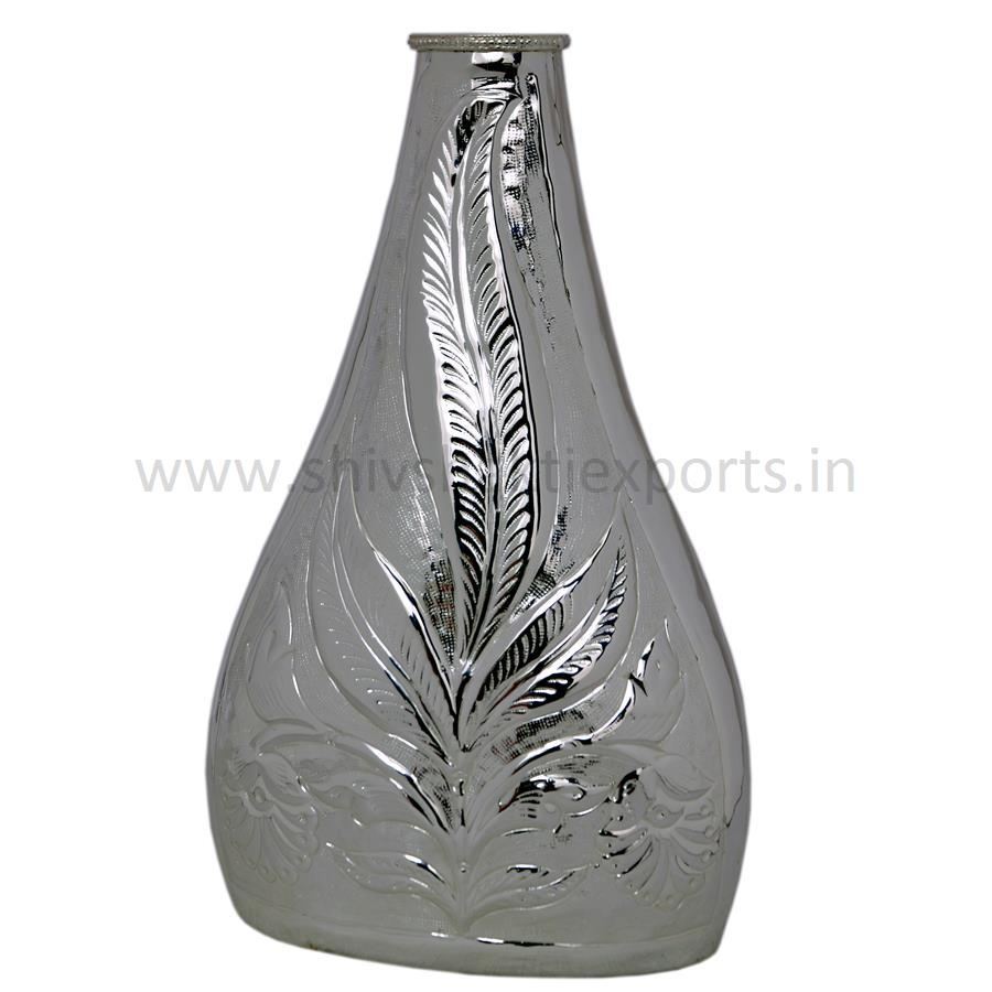 Silver Platted Flower Vase with Embossing - Brass
