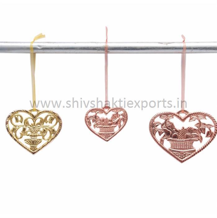X-Mass Hanging Hearts in Brass Copper Finish
