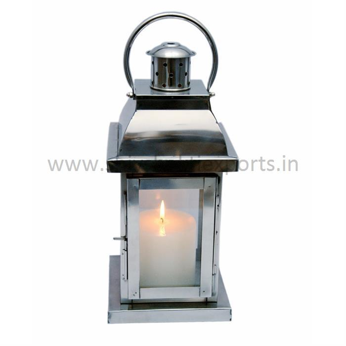 Candle Lantern Stainless Steel Polished