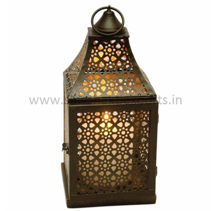 Candle Lantern Iron Brass Plating