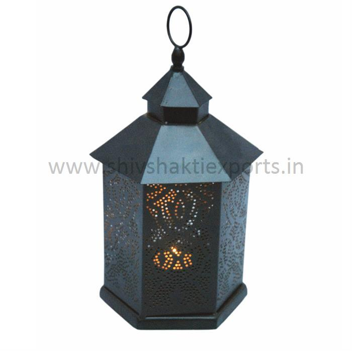 Candle Lantern Iron Black Powdeer Coated