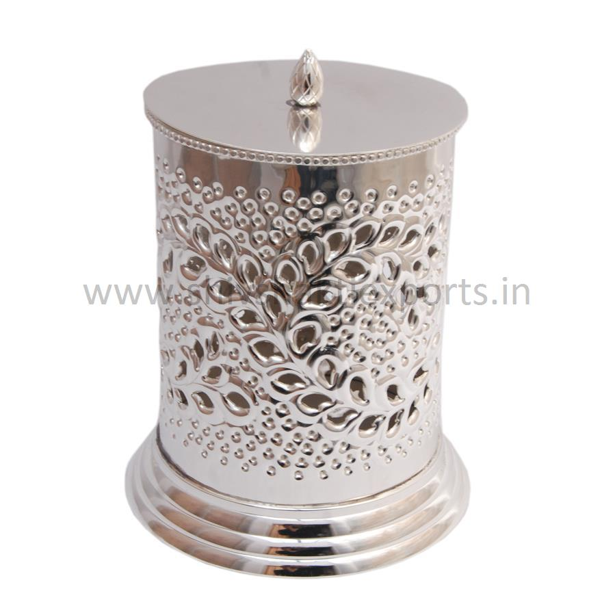 Dry Fruit Box with Embossed Design Silver Platted